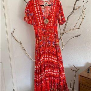 Jaase Boho Red Maxi Dress